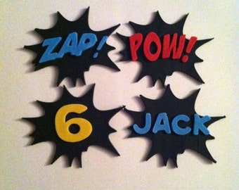 Fondant Super Hero Sayings, Name & Age Cupcake Toppers