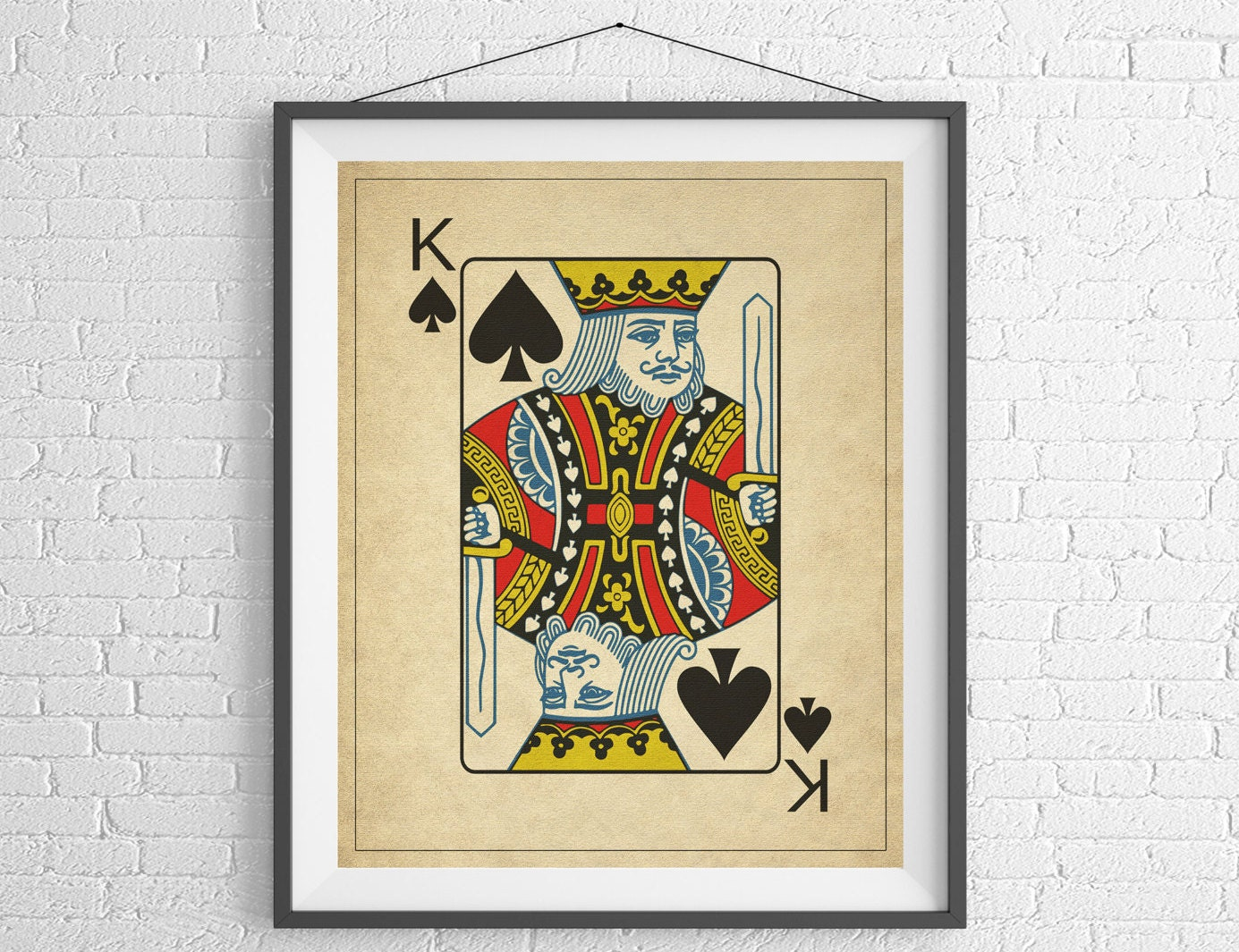 King of Spades Playing Card Art Game Room Decor Game Room