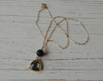 Smokey quartz with 8mm lava stone diffuser necklace, 14k gold plated Sterling silver chain