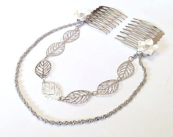 Vintage hair comb, chain leaves hair comb, leaves hair comb, decorative hair accessory, hair clip comb, hair accessory, gift