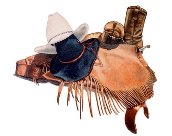 Cowboy Gear  - Print from Original Colored Pencil Drawing by B.Bruckner