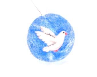 Christmas Ornament - Needle Felted - White Dove -  Peace Dove - Pocketwatch Shape - Felt Christmas - Christmas Gift - Dove Ornament