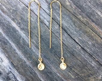 Gold Disc Threader Earrings | 18k Gold Dipped Discs on Gold Filled Threader Earrings