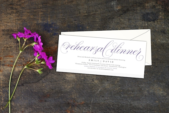 Elegant Script Rehearsal Dinner Invitation