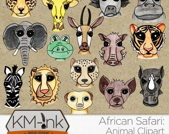 Safari Clip Art - Hand Drawn African Animal Illustrations for Digital Scrapbooking - Doodle Animal Clipart - Watercolor Pencil Illustration