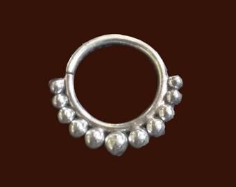 Silver septum ring, handmade ring, nose ring, sterling silver ring