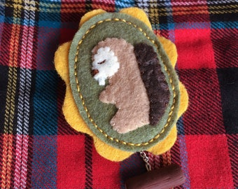 Felt Cameo Brooch Beaver Eco Log Charm