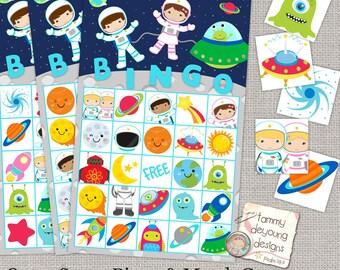 Outer Space Bingo, Printable Astronaut Bingo Game, Instant Download Bingo for Kids, Rocket birthday party, preschool classroom activity
