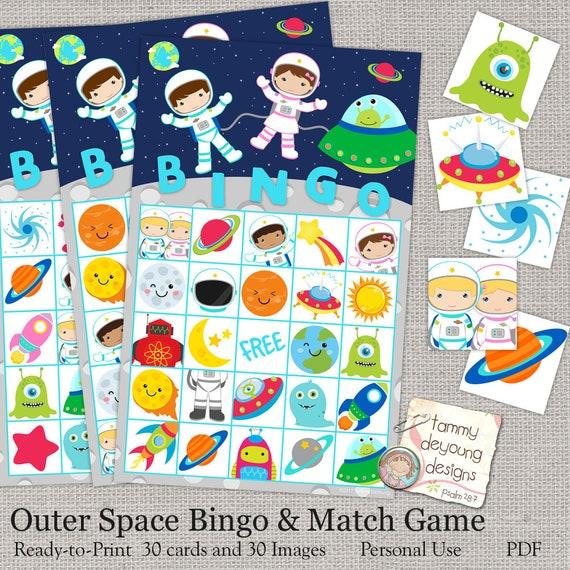Outer Space Bingo Printable Astronaut Bingo Game Instant