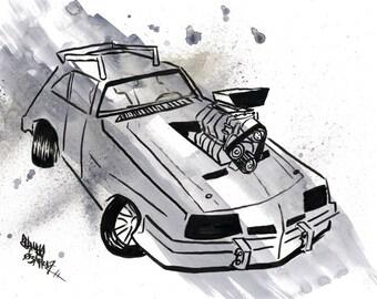 Mad Max V8 Interceptor, Original Ink Drawing