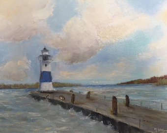 Lighthouse painting, original oil, Seascape, Lake Erie, Ocean and clouds, wall art canvas, home decor fine art, small painting, beach