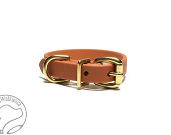 """Caramel Brown Beta Biothane Dog Collar - 5/8"""" (16mm) - Small Dog Collar - Brass or Stainless Steel Hardware - Leather Look and Feel"""