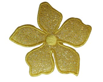 ID 6118 Yellow Wildflower Patch Glitter Flower Embroidered Iron On Applique
