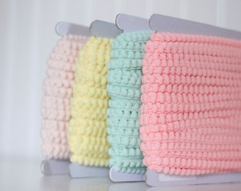 Spring Pastel Baby Pom Pom Trim- 3 yards color of your choice: Baby Pink, Yellow, Mint, or Coral