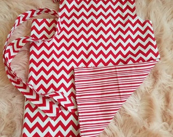 Red and white pillowcase dress with head band