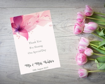 Personalised Wedding Thank You Cards with Matching Envelopes Pack Of 10 TY81
