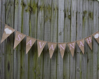 Custom Personalized Name,Garland Bunting,Baby Burlap Banner, Birthday Banner,Baby Name Banner, Baby Shower Decor,Custom Baby Banner