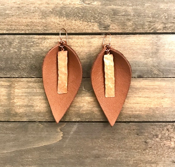 Brown leather and antique copper petal earrings