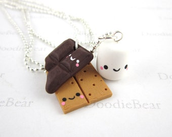 S'mores Friendship Jewelry - 3 Set Best Friend Necklace - Kawaii Jewelry - Cute Polymer Clay Charms - Smores Jewelry