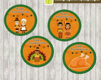 Thanksgiving Bottle Cap Images Digital or Cupcake Toppers