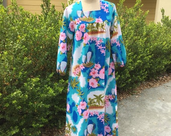 Tropical Floral Long sleeve Tunic Mumu