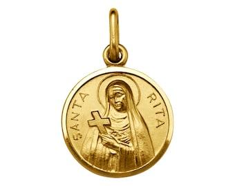 "18k solid yellow gold(0.90""inch)St.Rita religious icon pendant"