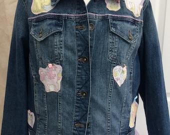 Up Cycled Customised Retro Ponies Denim Jacket UK size 18