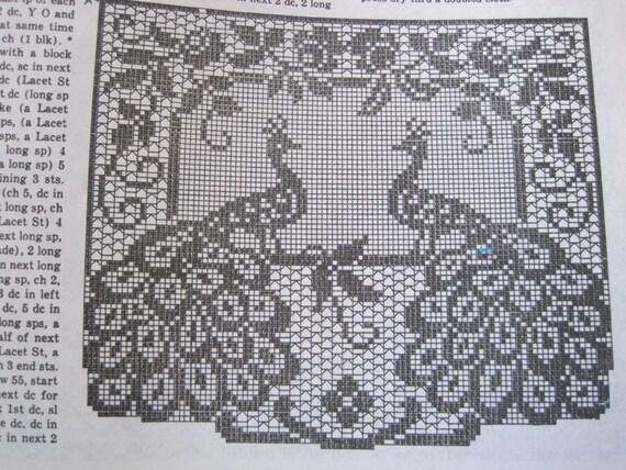 Crochet Pattern Filet Crochet Peacock Chair Set