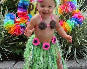 Baby Girl or Toddler Hawaiian HULA Dancer Island Photo Prop- Grass Skirt Coconut Bra and Flower Headband - Made to Order PLAN Ahead