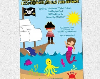 Pirate and Mermaid Birthday Party Invitation, Under the Sea, Dolphin, Ship,  Printable, Boy or Girl, DIY Digital File