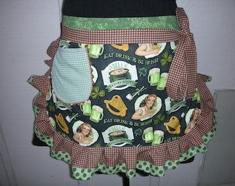 Womens Aprons - Saint Patricks Day Aprons - Irish Pub Aprons - Irish Aprons - Annies Attic Aprons - Irish Beer Aprons - Annies Attic Aprons
