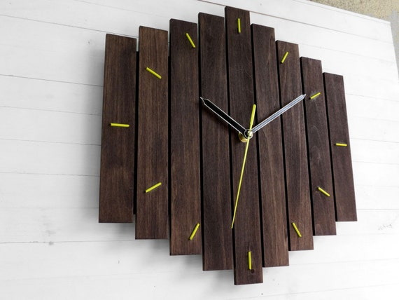 Yellow Wall Clock Wooden Wall Clock Contemporary Decor Romb