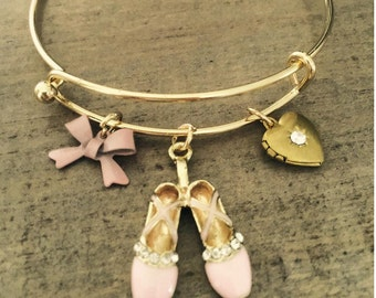 Ballet Charm Bracelet,  ballerina bangle,  heart locket,  charm bracelet, ballet charms, dance recital gift