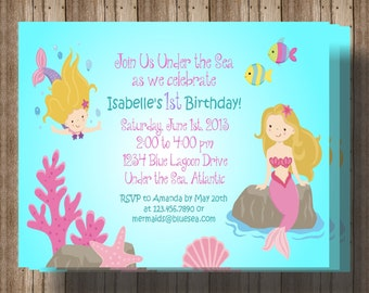 MERMAID INVITATION / Under the Sea Party Printable Digital File / Girls Mermaid Birthday Party Invitations / Matching Items Available