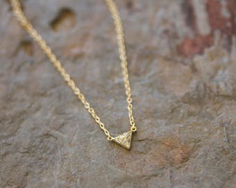 CZ pave triangle pyramid necklace