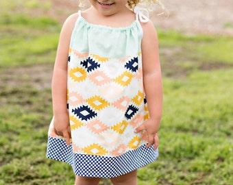 Boho girls dress- baby dress- summer dress- girls outfit- girls spring outfit- boho kids clothing- Aztec tribal dress- new baby gift