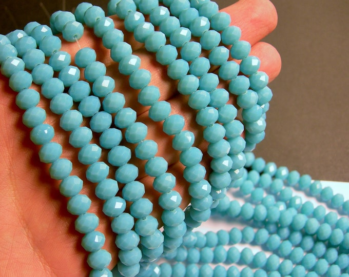 Crystal faceted rondelle - 68 pcs - 8 mm - A quality - full strand - turquoise  - GSH58