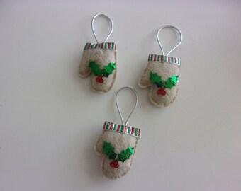 "Set of 3 Handmade Felt Mitten Ornaments  2 1/2"" h x 1 3/4""w"