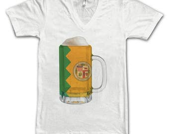 Ladies Los Angeles Flag Beer Mug Tee, City Pride, City Flag, Home Tee, Beer Tee, Beer T-Shirt, Beer Thinkers, Beer Lovers Tee