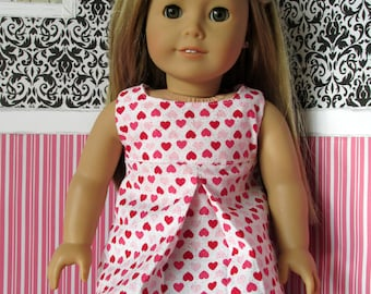 18 Inch Doll Clothes, Red/Pink Hearts Pleated Tunic, fits 18 Inch dolls such as American Girl dolls