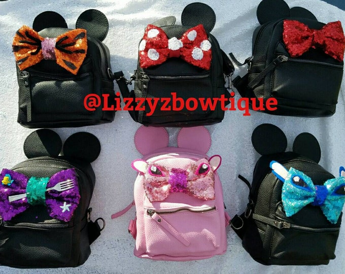 Mini Backpack with Handmade customized bow