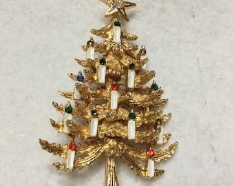 Designer signed Art Christmas tree brooch pin .