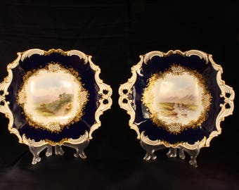 Pair of Fine Coalport Porcelain Dishes with Landscapes by Arthur Perry c1902