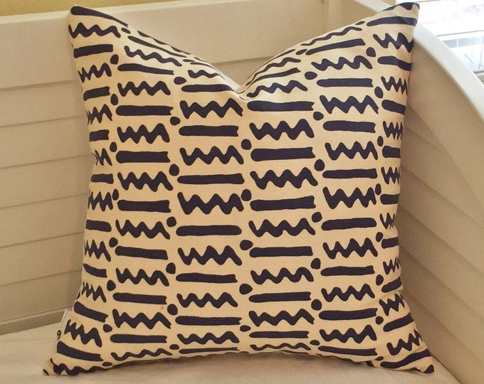 Quadrille China Seas Jaybee in Navy Designer Pillow Cover - Square, Lumbar, and Euro Sizes