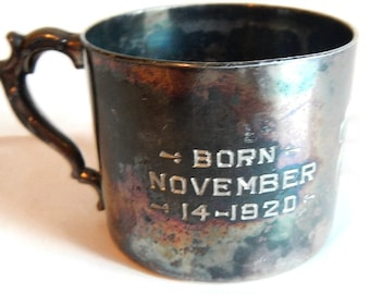 """Vintage Poole Silver Co. Engraved Baby Cup or Mug - floral design, """"Born Nov 14, 1920"""" - marked, stamped 225, flowers, baby gift, patina"""