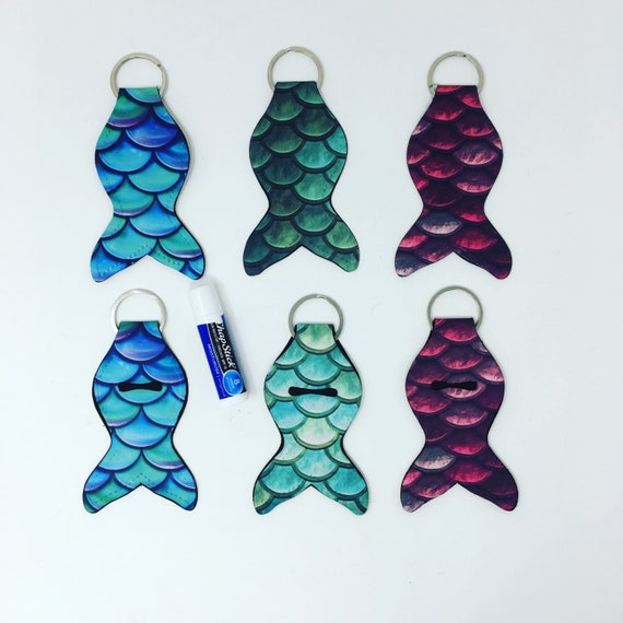 Mermaid Tail keychain, Mermaid Lip Balm Key Ring Holder, Mermaid Chapstick keychain, Mermaid Flash Drive USB holder, Personalized Mermaid