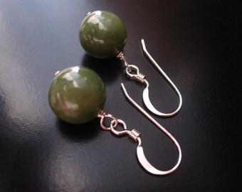 Jade Earrings, Genuine Jade, Natural Jade, Green Jade Earrings, Sterling Silver Wire, Jade Jewelry, St. Patrick's Day, Irish Earrings
