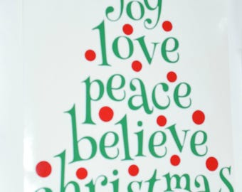 Word Christmas Tree Vinyl Decal