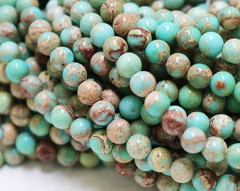 Aqua Blue Impression Jasper, 6mm round, gemstone beads, blue gemstone, full strand, jewelry supply