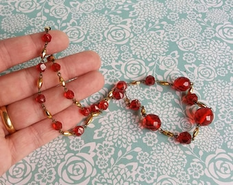 Vintage 1960's Red Glass and Gold Beaded Necklace - Bright Colours - Multifaceted Glass Beads